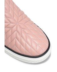 Roberto Cavalli - Pink Quilted Leather Slip-on Sneakers - Lyst