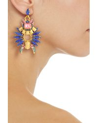 Elizabeth Cole - Blue Gold-tone, Crystal And Stone Earrings - Lyst