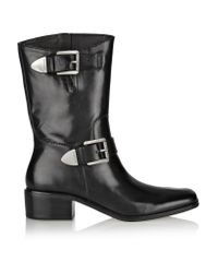 MICHAEL Michael Kors - Black Robin Glossed-leather Ankle Boots - Lyst