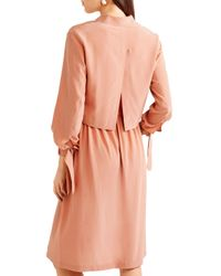 Vince Multicolor Gathered Silk Dress Peach