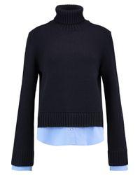 Michael Kors Blue Cotton-poplin Paneled Ribbed Cashmere Turtleneck Sweater