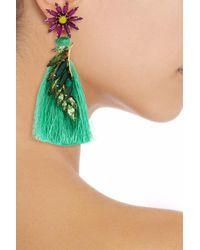 Elizabeth Cole - Green 24-karat Gold-plated, Swarovski Crystal, Stone And Tassel Earrings - Lyst