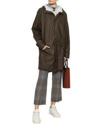 Rains Woman Coated Shell Hooded Raincoat Dark Brown