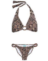 Melissa Odabash Multicolor Embellished Snake-print Halterneck Bikini Animal Print