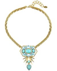 Elizabeth Cole | Blue Goldplated Crystal and Cabochon Necklace | Lyst