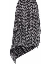 Roland Mouret Pickhill Asymmetric Cotton-blend Tweed Midi Skirt Black