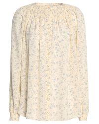 Vince Natural Smocked Floral-print Silk Crepe De Chine Shirt Cream