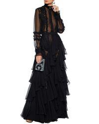 Zuhair Murad Woman Ruffled Silk-blend Chiffon And Chantilly Lace Maxi Skirt Black