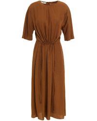 Vince Brown Gathered Crinkled Twill Midi Dress