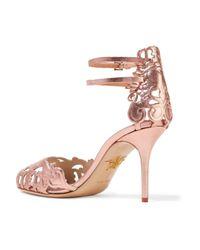 Charlotte Olympia Pink Margherita Laser-cut Metallic Leather Sandals