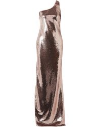 Tom Ford Multicolor Woman One-shoulder Sequined Stretch-mesh Gown Rose Gold