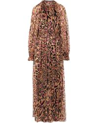 Temperley London Pink Ruffle-trimmed Fil Coupé Animal-print Silk-blend Halterneck Gown