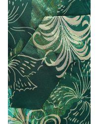 Anna Sui Printed Metallic Fil Coupé Silk-blend Maxi Dress Forest Green