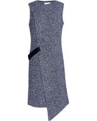 Carven Black Ribbed-wool Wrap Dress