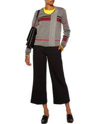 Jil Sander Gray Striped Houndstooth Wool-blend Sweater
