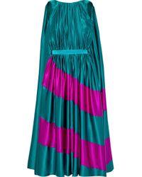 Roksanda Multicolor Pleated Two-tone Silk-satin Midi Dress Teal