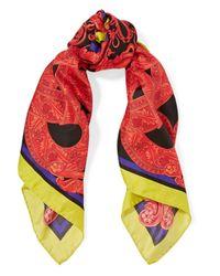 Versace - Red Printed Silk-satin Twill Scarf - Lyst
