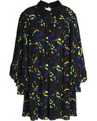 McQ Alexander McQueen Woman Ruffled Floral-print Crepe Mini Dress Black