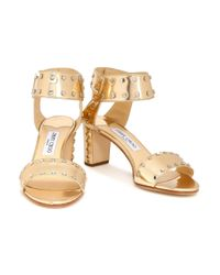 Jimmy Choo Veto Studded Mirrored Metallic Leather Sandals Gold