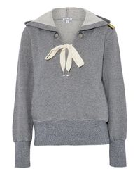 Splendid - Gray Lace-up Cotton-blend Terry Hooded Sweatshirt - Lyst