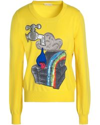Marc Jacobs Woman Appliquéd Sequined Wool-blend Sweater Yellow