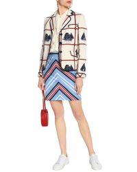 Tory Burch Blue Printed Woven Cotton And Linen-blend Jacket