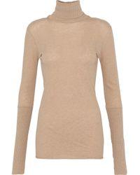 Enza Costa Multicolor Mélange Cotton And Cashmere-blend Turtleneck Top Neutral