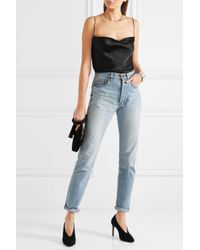 Protagonist Black Draped Hammered-charmeuse Camisole