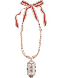 Lanvin | Pink Grosgrain And Crystal Necklace | Lyst