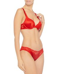 Stella McCartney - Red Lace And Silk-blend Satin Low-rise Briefs - Lyst