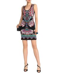 Roberto Cavalli Woman Lam 233 Jacquard Knit Mini Dress Black