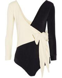 Lisa Marie Fernandez | Black Mary Helen Wrap-effect Micro-fiber Bodysuit | Lyst