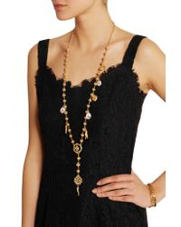 Dolce & Gabbana - Metallic Gold-plated Swarovksi Crystal Necklace - Lyst