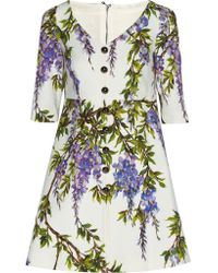 Dolce & Gabbana - White Floral-print Textured Stretch-cotton Mini Dress - Lyst
