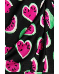 Love Moschino Black Ruffle-trimmed Printed Satin-jersey Midi Dress