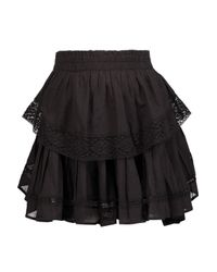 LoveShackFancy Black Crochet Knit-trimmed Pleated Cotton-gauze Mini Skirt