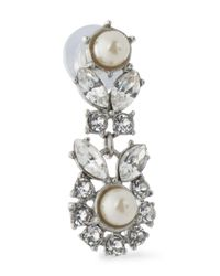 Ben-Amun - White Silver-tone, Faux Pearl And Crystal Earrings - Lyst
