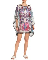 Roberto Cavalli - Purple Printed Cotton And Silk-blend Chiffon Cover Up - Lyst
