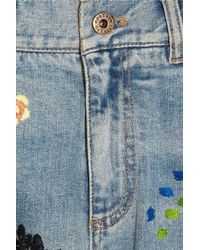 Roberto Cavalli Blue Patchwork Flared Jeans