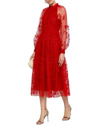 Co. Gathered Flocked Tulle Midi Dress Red