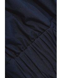 MILLY Blue Gathered Cotton-blend Poplin Mini Dress