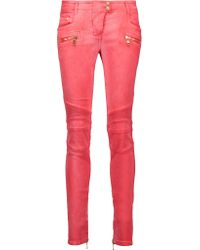Balmain - Multicolor Moto-style Low-rise Skinny Jeans - Lyst