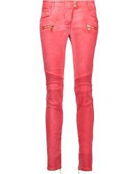 Balmain | Multicolor Moto-style Low-rise Skinny Jeans | Lyst