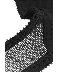 Yasmine Eslami - Black Natacha Mesh-paneled Swiss-dot Jersey Balconette Bra - Lyst