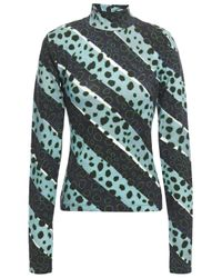 House of Holland Blue Printed Stretch-cotton Jersey Turtleneck Top
