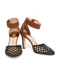 Paul Andrew - Brown Ragnar Smooth And Woven Leather Pumps - Lyst