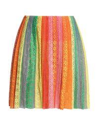 Valentino Multicolor Pleated Cotton Lace Mini Skirt