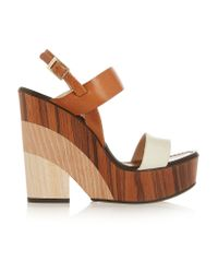 Jimmy Choo | Brown Notion Leather And Wood Wedge Sandals | Lyst
