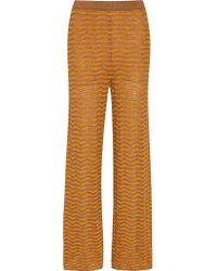 M Missoni | Black Metallic Crochet-knit Wide-leg Pants | Lyst