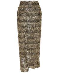 Baja East | Metallic - Lurex-fringed Chiffon Wrap Skirt - Gold | Lyst
